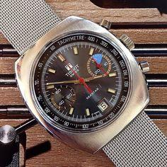 Vintage Tissot Seastar Yachting chronograph on retro mesh bracelet