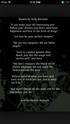 I love this. Andy Biersack always quotes the best things ❤️