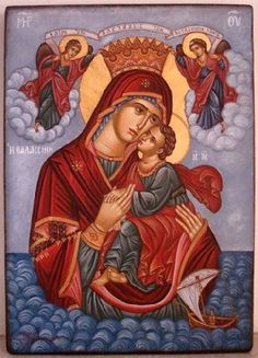 Panagia H Thalassini Religious Images, Religious Icons, Religious Art, Byzantine Icons, Byzantine Art, Blessed Mother Mary, Blessed Virgin Mary, Church Icon, Christian Artwork