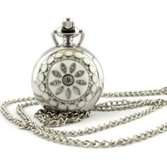 Youyoupifa Women's Stainless Steel Hunter-case Necklace Pendant Pocket Watch (White) $5.99 +free shipping