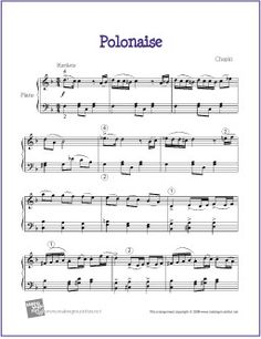 Polonaise (Chopin) | Free Sheet Music for Piano - http://makingmusicfun.net/htm/f_printit_free_printable_sheet_music/polonaise-piano-solo.htm