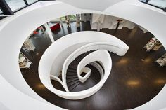 Circle Stairs in media centre Oberkirch in Germany Luxury Staircase, Stairs And Staircase, Stone Stairs, Staircase Design, Stair Design, Spiral Staircases, Circle Stairs, Timber Stair, Arch Building