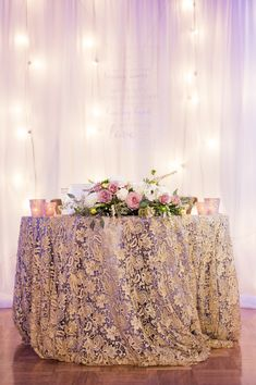 La Tavola Fine Linen Rental: Venice Lace Gold over Peau De Soie Lavender | Photography: Candice Benjamin Photography, Event Planning: Charmed Events Group, Floral Design: Poppy's Petalworks