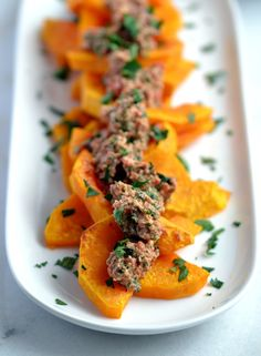 Butternut Squash with Roasted Red Pepper, Walnut & Parsley Pesto