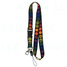 Key Chain Lanyard with Quick Release Key Clip and Cell Phone Strap - Peace Multi-color Lanyard Keychain, Key Chain, Peace, Personalized Items, Amazon, Color, Amazons, Riding Habit, Key Bracelet