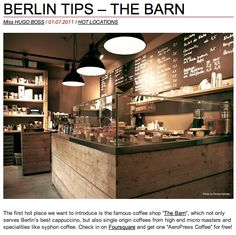 INDUSTRIAL COFFEE SHOP | The Barn'-Berlin coffee shop