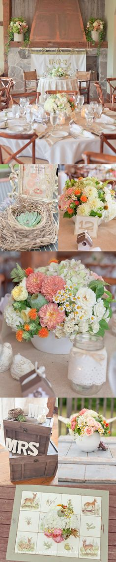 ♥~ Mimosa Fower Studio decor ~♥~ Wedding Reception at Knollwood Golf Course ~♥ ~♥~ 2 vintage coral rustic country chic ~♥
