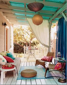 22 Porch, Gazebo and Backyard Patio Ideas Creating Beautiful Outdoor Rooms in Summer - Relaxing Summer Porches House Of Turquoise, Turquoise Room, Outdoor Rooms, Outdoor Living, Outdoor Curtains, Porch Curtains, Outdoor Patios, Outdoor Seating, Outdoor Retreat
