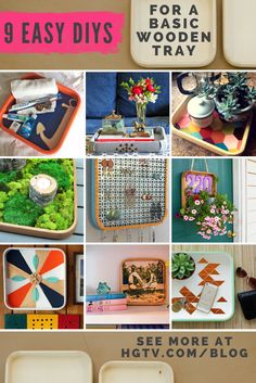 9 Easy DIYs for a Basic Wooden Tray >> http://blog.hgtv.com/design/2015/06/09/blogger-challenge-pick-your-favorite-diy-tray/?soc=pinterest