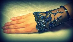 OOAK Hand Beaded Lace Cuff in Black and Sapphire by YovankaBlack