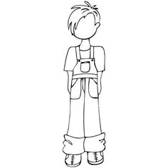 Prima and Julie Nutting  Mixed Media Doll Cling Rubber Stamp TOBY  Male, Casual