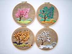 Tapestries Handmade Embroidered Fiber art Small Four seasons (Etsy: nerina52)