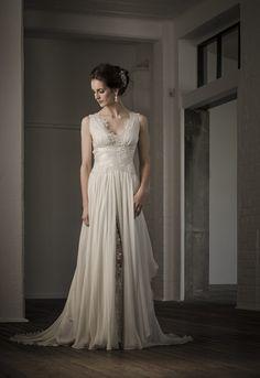 Grecian Empire Bodice V-neck Sleeveless A-line Chiffon Wedding Dress