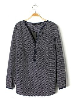 Blue Polka Dot Pockets blouse