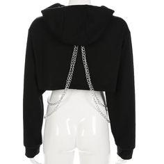 Cropped Hoodie Outfit, Crop Top Hoodie, Bad Girl Outfits, Edgy Outfits, Fashion Outfits, Cropped Tops, Black Crop Tops, Trench Coat Homme, Flare