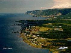 Beautiful Cheticamp, Cape Breton, Nova Scotia aerial view