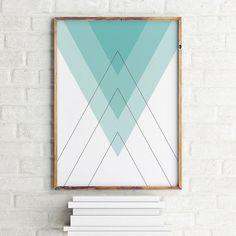 Geometric art print poster Blue Pyramids / Printable Digital Art / Scandinavian art / Nordic Art / Wall Decor / digital print illustration by MBmindbackup on Etsy https://www.etsy.com/listing/242963893/geometric-art-print-poster-blue-pyramids