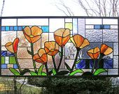 "Eight California Poppies over Geometric--14"" x 28""--Stained Glass Window Panel-"
