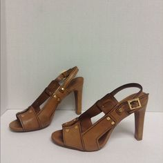Tory Burch Open Toe Slingback Heels Tory Burch Open Toe Slingback Heels  with gold tone hardware Sz 8 1/2. Only worn a few times in good condition with some signs of wear on the leather & trim Tory Burch Shoes Sandals