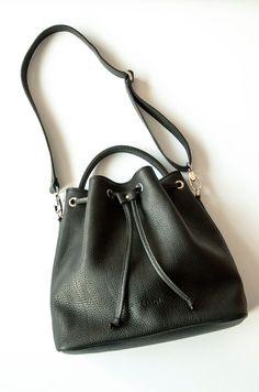 Black Leather Bucket Bag Shoulder Pebbled Leather by morelebags