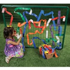 Outdoor Weaving Frame - simple grid with waterproof ribbons for threading Outdoor Learning Spaces, Outdoor Play Areas, Outdoor Education, Outdoor Fun, Natural Playground, Outdoor Playground, Playground Ideas, Outdoor Classroom, Outdoor School