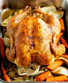 Ina Garten's Roast Chicken - Recipes - This whole oven-roasted chicken recipe makes a perfect family dinner, and there's plenty of gravy to go around! Roast Chicken Fennel, Ina Garten Roast Chicken, Rosted Chicken, Oven Roasted Whole Chicken, Perfect Roast Chicken, Roasted Chicken And Potatoes, Oven Chicken, Roast Chicken Recipes, Stuffed Whole Chicken