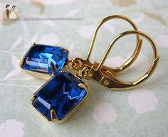 Capri Blue Vintage Rhinestone Earrings Swarovski Crystal Sapphire in Gold - Bridesmaid gifts (*Amazon Partner-Link)