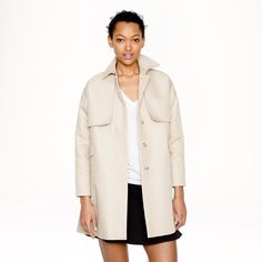 "J.Crew trench coat J.Crew Cotton Twill Swing Trench, size 6 (will fit an 8 as well.) Color: khaki. A new take on the trench coat. Notch collar, drop sleeves, Trocas shell buttons, and flap pockets. Body length: 35""; sleeve length: 32""; hits at mid-thigh. Retail price: $248. Asking price: $128. (More photos to come.) J. Crew Jackets & Coats Trench Coats"