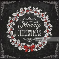 Christmas Wreath On Chalkboard Illustration , Blackboard Art, Chalkboard Vector, Christmas Wreaths, Christmas Cards, Merry Christmas, Xmas, Illustration Noel, Christmas Illustration, Christmas Sketch