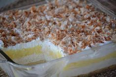 Oh my, lookie at this! Princess Pie - (Coconut Cream Pie Dessert) --- This pan dessert features a homemade crust, cream cheese layer, instant coconut pie layer, and finished off with whipped topping and toasted coconut (opt). Potluck Desserts, 13 Desserts, Layered Desserts, Delicious Desserts, Dessert Recipes, Yummy Food, Recipes Dinner, Fun Food, Lemon Desserts