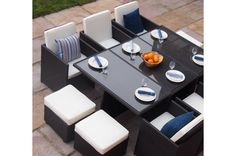 Rome Deluxe Cube Rattan Garden Furniture 10 Seat Dining Set WITH FREE COVER WORTH £60