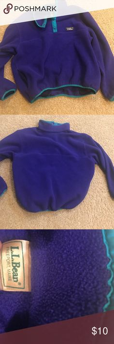 LLBean Quarter Button Up Pullover This is a purple and teal L.L. Bean quarter button up sweatshirt. It is fleece and very durable. It is made from the original store in Freeport Maine. It is women's size large. llbean Jackets & Coats