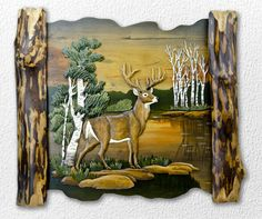Deer in Birch Hand-Carved Wooden Wallhanging - American Expedition