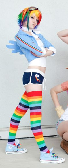 Rainbow Dash  This is a great translation to human form, but would probably go with pants that match the jacket.