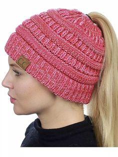 C.C BeanieTail Soft Stretch Cable Knit Messy High Bun Ponytail Beanie Hat 3  tone  fashion 9b01562f26c3
