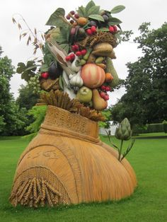 TO: London, UK  All Four Seasons are represented until the 16th September at the Dulwich Picture Gallery in South London.    These giant 15-foot high fibre-glass sculptures by American artist Philip Haas are based upon the artworks of 16th-century Italian painter Giuseppe Arcimboldo, who painted portraits composed of various objects.