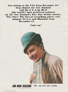 Vintage 1965 AIR NEW ZEALAND AIRLINES Advertisement