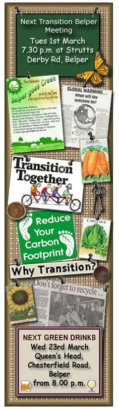 Transition Belper - part of the Transition Network. Creating a more resilient low carbon future. The latest news for the Belper Goes Green ECO Festival Low Carbon, Carbon Footprint, Go Green