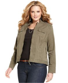 Lucky Brand Plus Size Military Zip-Front Jacket - Plus Size Jackets & Blazers - Plus Sizes - Macy's