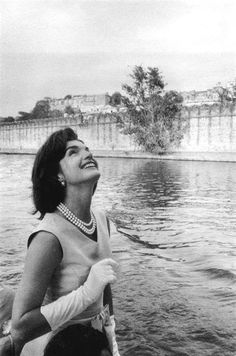 Jackie Kennedy on a boat in India