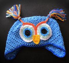 blue owl Crochet Owl Hat, Crochet Earrings, Beanie, Blue, Beanies, Beret