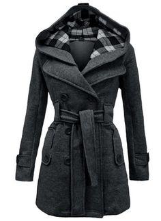 Cotton & Cotton Blend Beige Black Red Royal Blue Dark Gray Long Long Sleeve Hooded Coats & Jackets (1715116010)