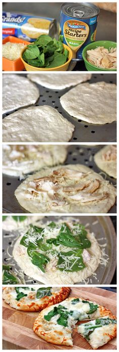 Chicken Alfredo Biscuit Pizzas.. I would add more spinach and red peppers..yum.!!!!