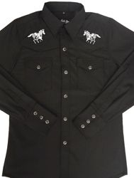 d36f04f0b This Kids Horse Embroidered Black Western Shirt is just like dad's or  grand-dad's shirt with the same quality to match. Kids sized cowboy shirt  with white ...