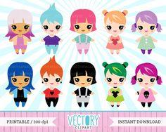 10 Chibi Clipart Kawaii Clipart Set Kawaii Chibi by VectoryClipart