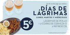 ¿De verdad piensas que los #lunes son aburridos?  ¡Ahora los lunes tienes algo que celebrar con el Día de las Lágrimas de Cervecería La Sureña ! Disfruta de lágrimas de pollo + dos copas de cerveza o refresco por tan sólo 5€ en La Sureña de #PlazadeArmas.