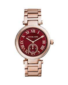 Mid-Size Rose Golden Stainless Steel Skylar Three-Hand Glitz Watch at CUSP.