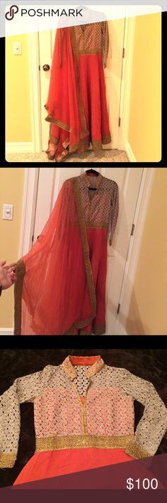 Indian dress Gorgeous brick red colored indian dress - floor length anarkali - empire line style. Comes with a dupatta - net with golden border. Fits a size small xs/s. Beautiful golden lace sleeves and top (with lining as in the picture). Bought it from India. Other