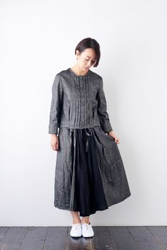 vlas blomme ラチネ タックシャツジャケット - poooL (online shop)
