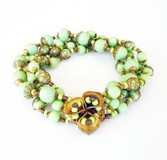 Miriam Haskell Bracelet Mint Green Glass Beads by zephyrvintage